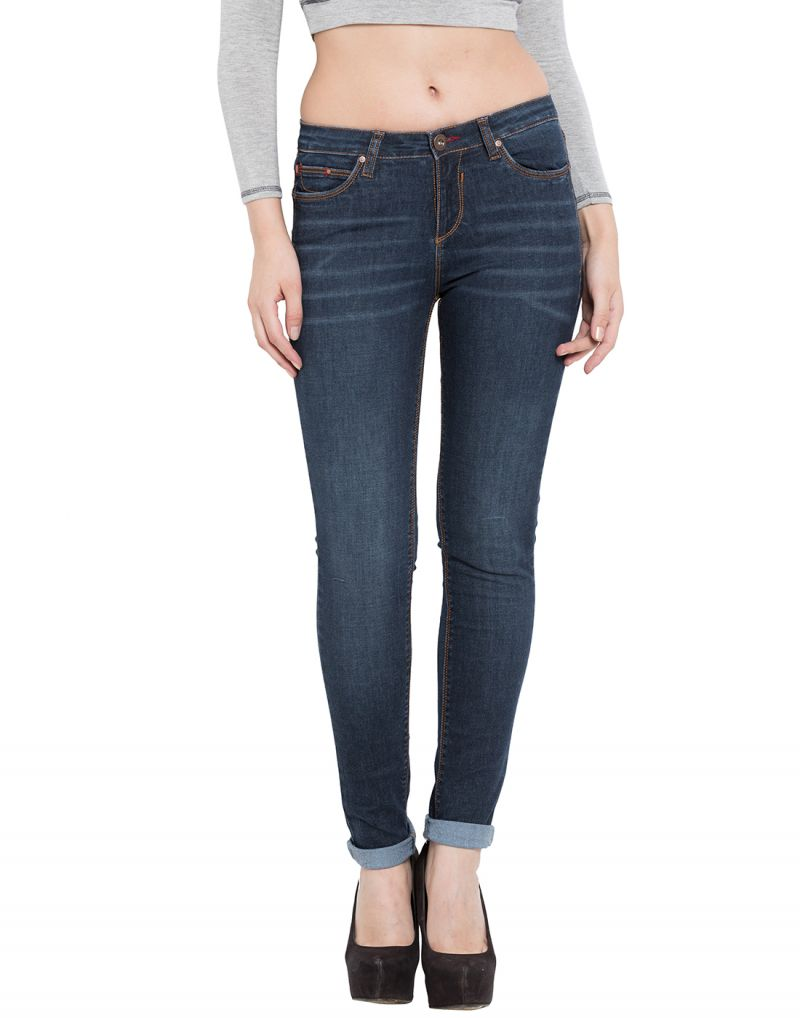 Buy Tarama Blue Color Push Up Fit Cotton Stretch Denim Fabric Full Length Jeans For Women's online