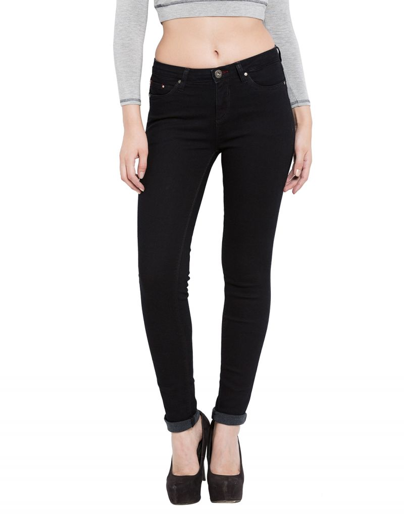 Buy Tarama Black Color Push Up Fit Cotton Stretch Denim Fabric Full Length Jeans For Women's online