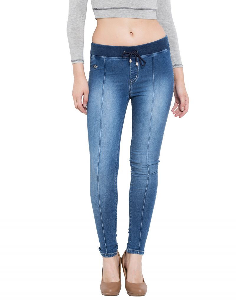 Buy Tarama Blue Color Super Skinny Fit Knitted Denim Fabric Ankle Length Jeggings For Women's online
