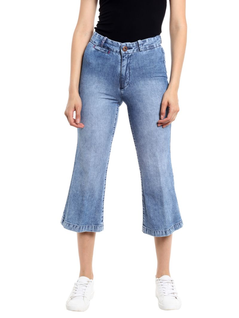 Buy TARAMA High Rise Wideleg fit Blue color Jeans for women online