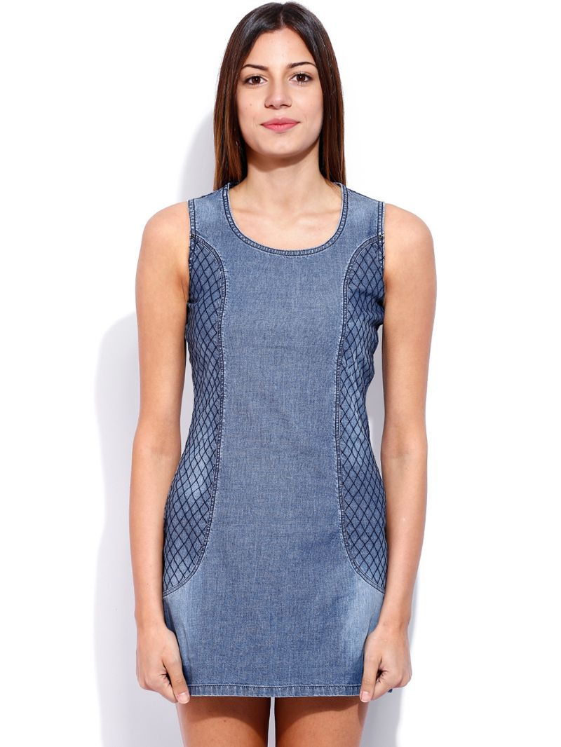 Buy Tarama Blue Color Cotton Stretch Denim Fabric Shift Dress For Womens online