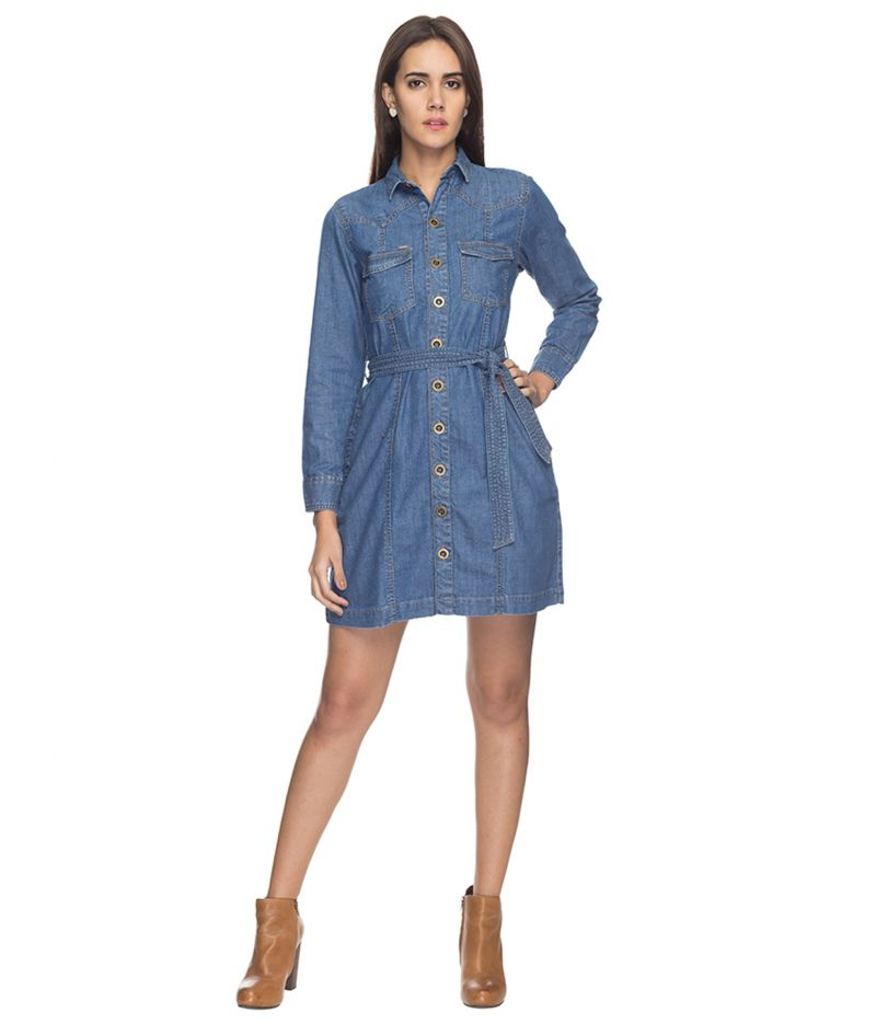 Buy Tarama Blue Color Cotton Denim Fabric Shirt Dress For Womens online
