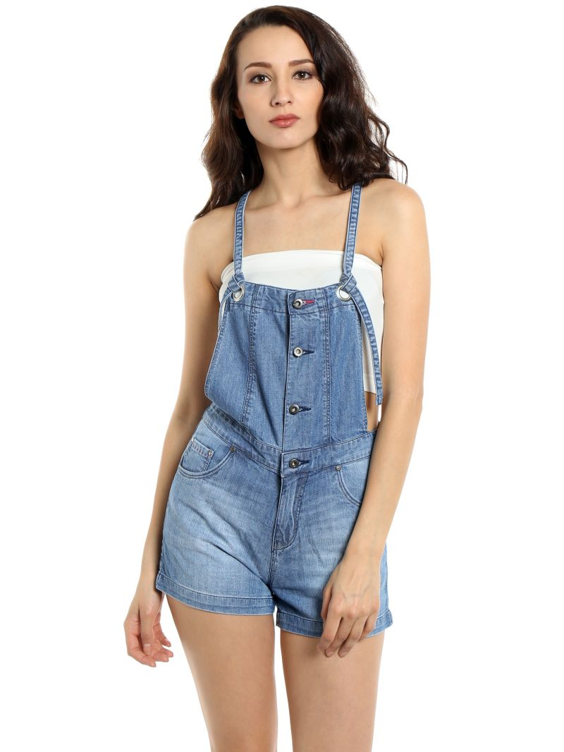 Buy Tarama Relaxed Fit Cotton Denim Fabric Dungaree For Women-a2 Tdd1249b online