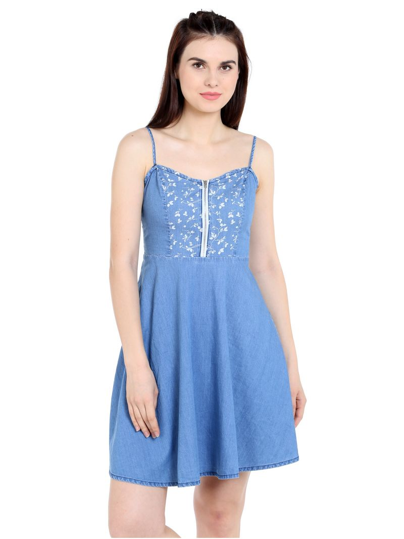 Buy TARAMA Regular Fit Cotton Denim fabric Straight Dress for women online