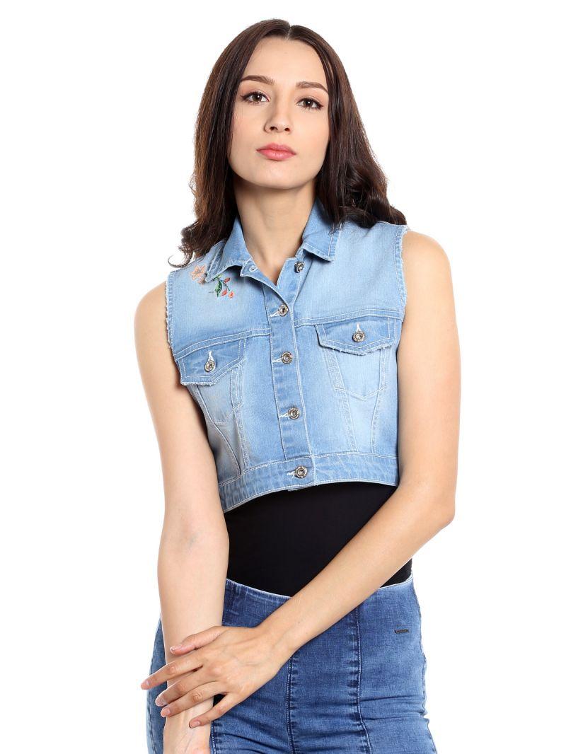 Buy TARAMA Cotton Stretch Denim fabric Light Blue color Regular fit Jacket for women online