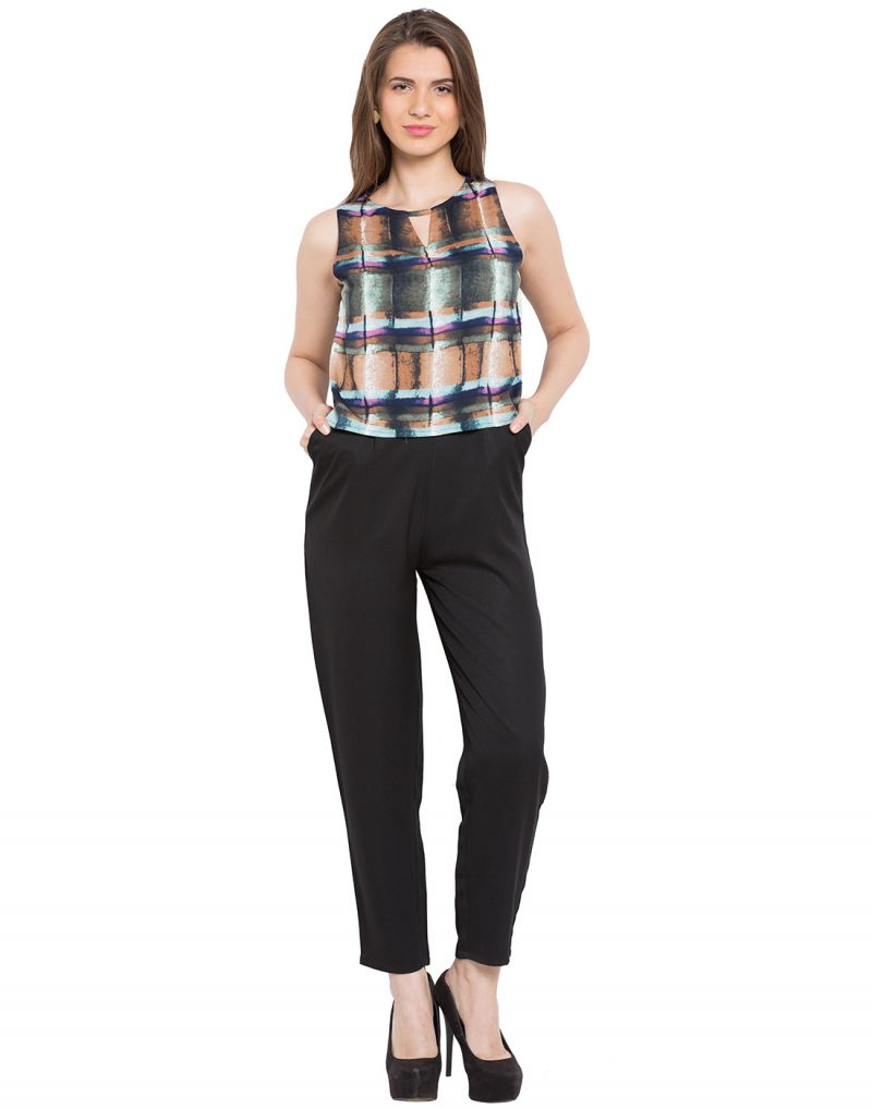 Buy Tarama Brown Color Crepe Fabric Sleeveless Jumpsuit For Women online