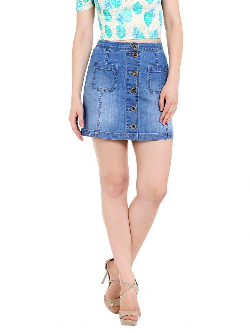 Buy Tarama High Rise Regular Fit Light Blue Color Mini Skirt For Women's-a2 Tds1241a online