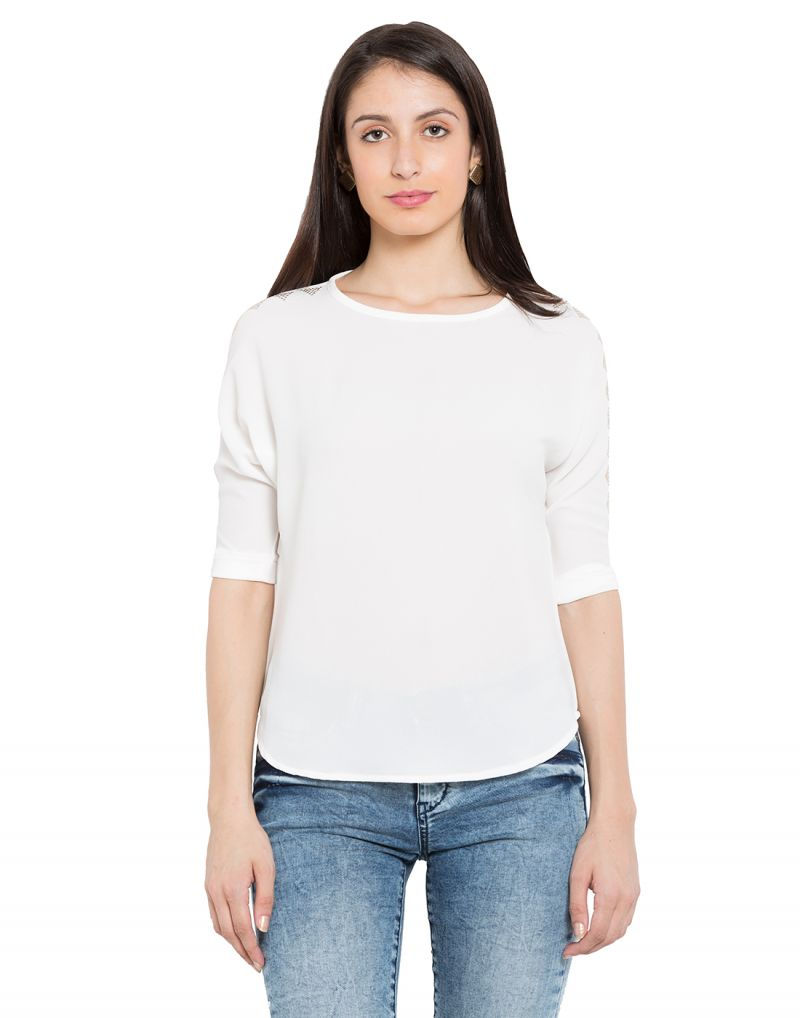 Buy Tarama White Color Bubble Ggt Fabric Solid Top For Womens (product Code - Tdt1104c) online