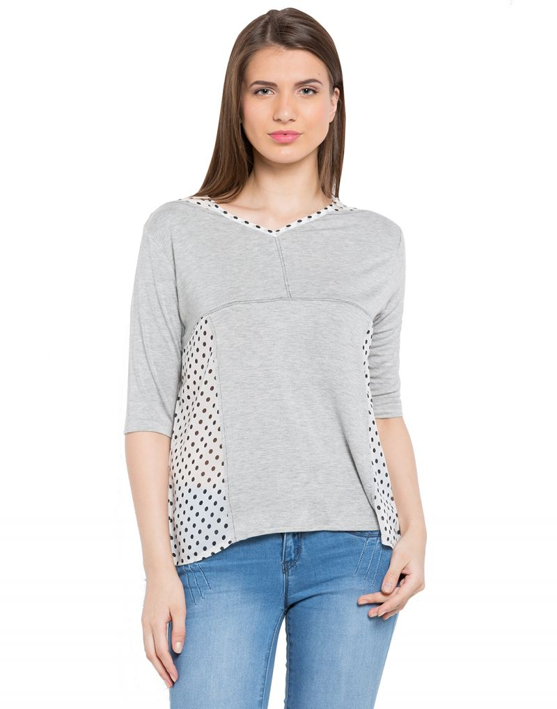 Buy Tarama Lt. Grey Color Grey Melange Fabric Solid Top For Womens (product Code - Tdt1106a) online