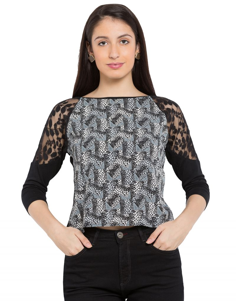 Buy Tarama Black Color Black Crepe Fabric Graphic Print Top For Womens (product Code - Tdt1107b) online