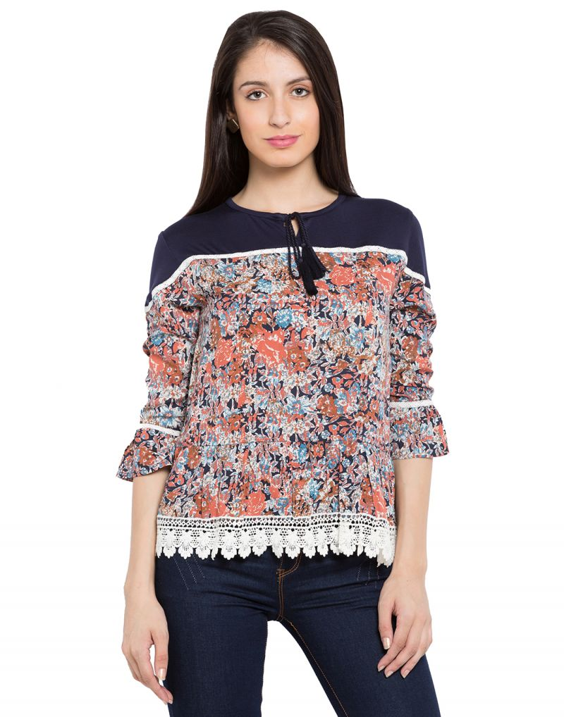 Buy Tarama Multi Color Rayon Fabric Floral Print Top For Womens (product Code - Tdt1108b) online