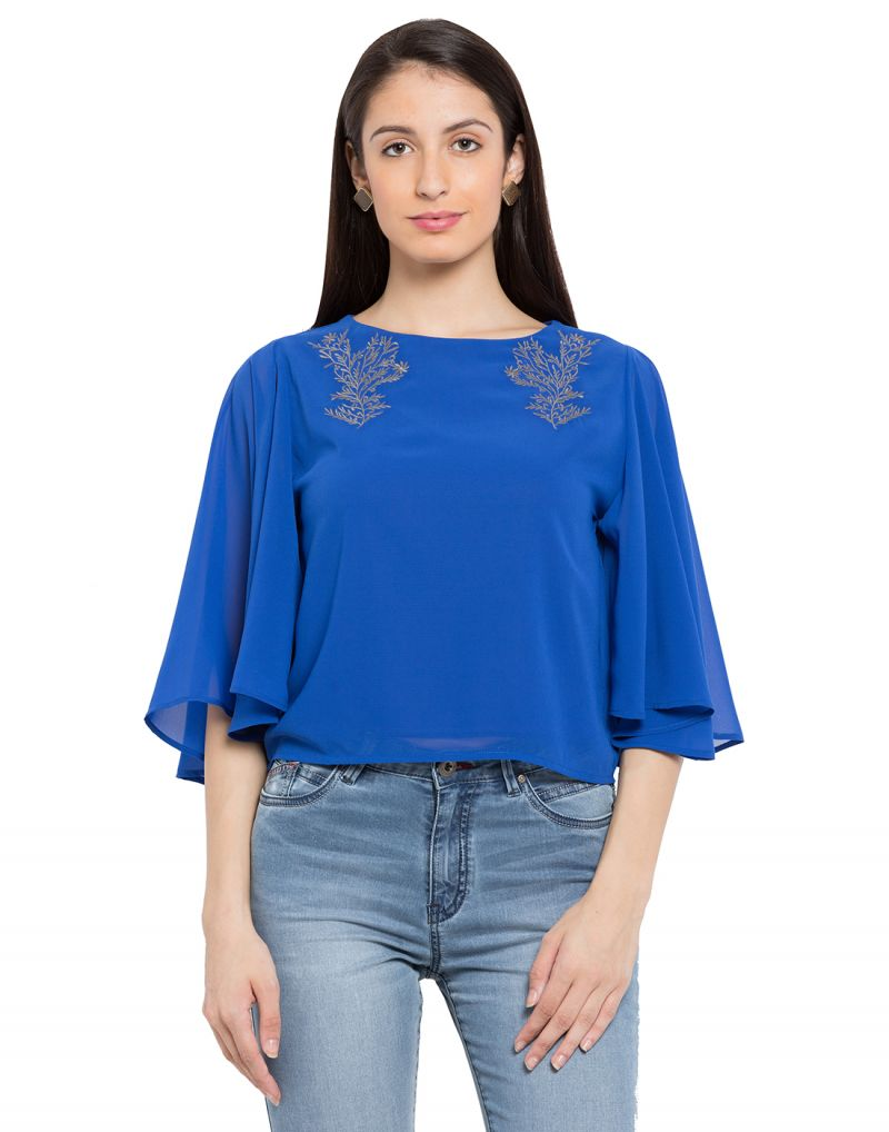 Buy Tarama Royal Blue Color Georgette Fabric Solid Top For Womens (product Code - Tdt1110c) online
