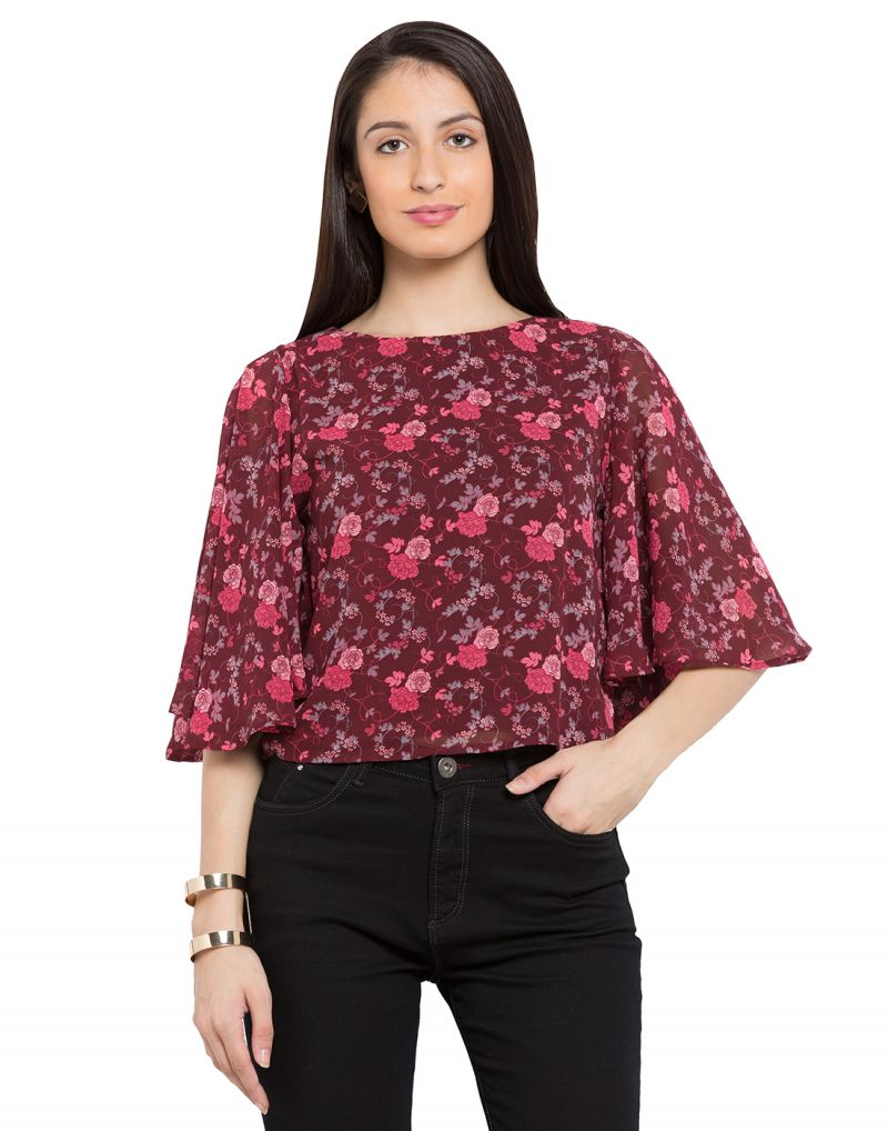 Buy Tarama Burgandy Printed Color Georgette Fabric Floral Print Top For Womens (product Code - Tdt1110d) online