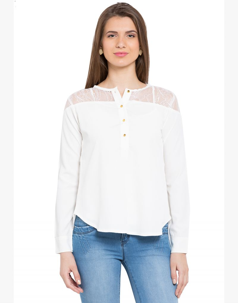 Buy Tarama White Color Georgette Fabric Long Sleeve Women's Top online