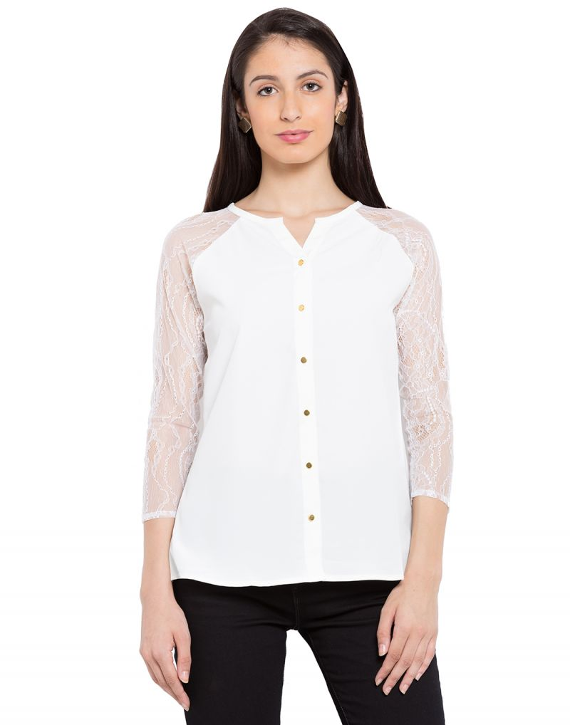 Buy Tarama White Color Crepe Fabric Long Sleeve Women's Shirt online