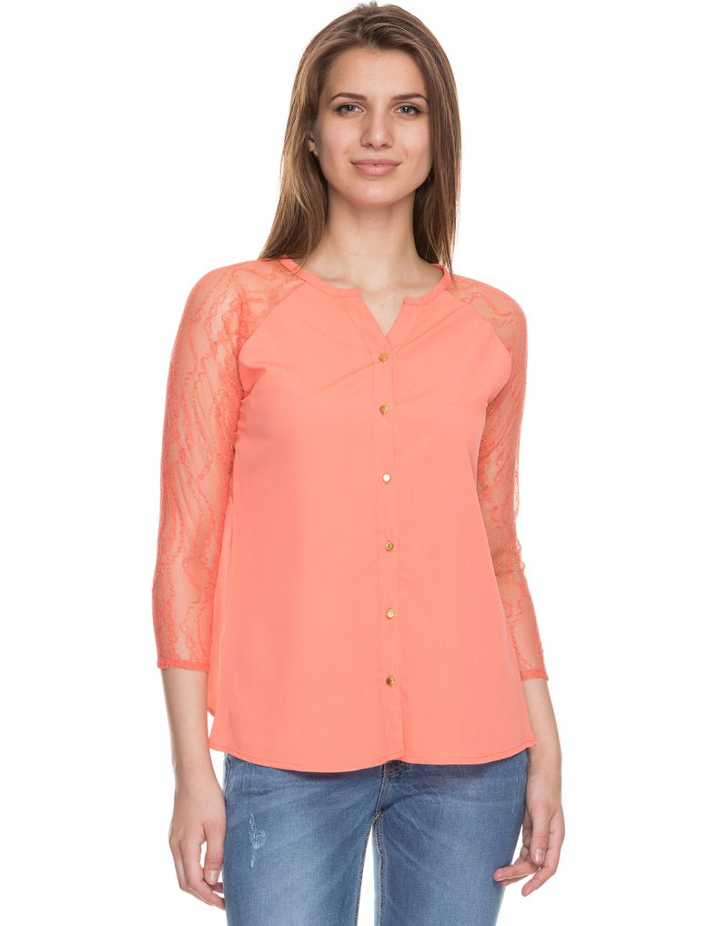 Buy Tarama Coral Color Crepe Fabric Long Sleeve Women's Shirt online