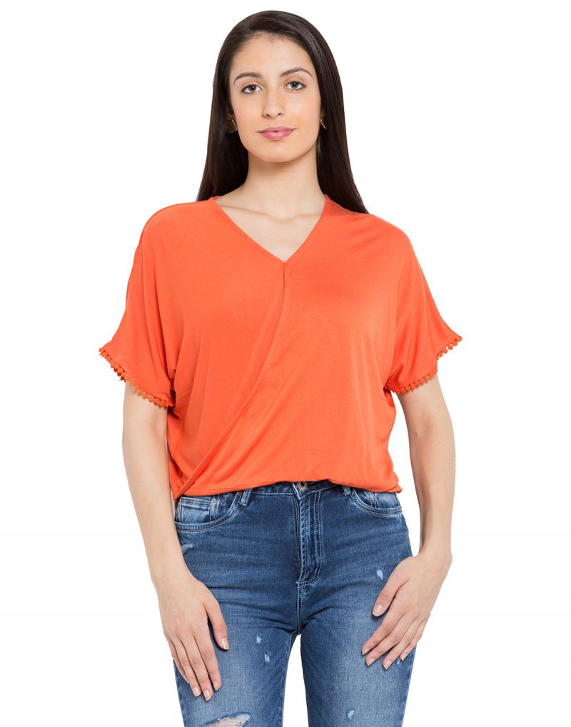 Buy Tarama Orange Color Viscose Lycra Fabric Solid Top For Womens (product Code - Tdt1121b) online
