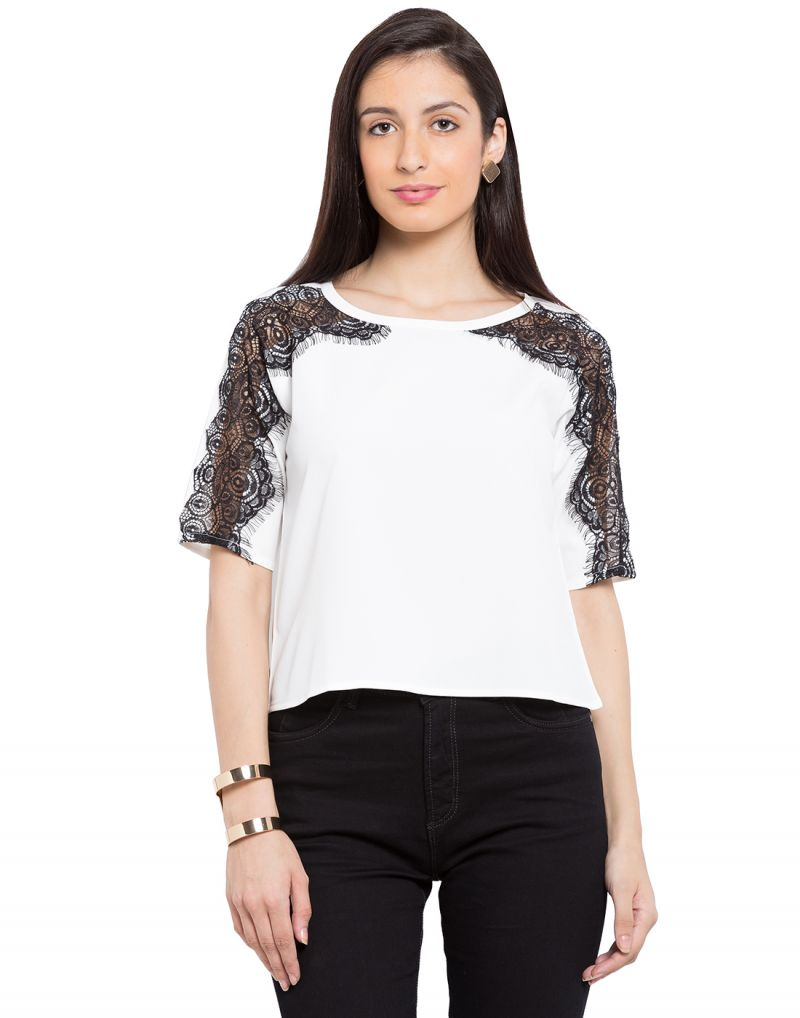 Buy Tarama White Color White Dull Crepe Fabric Solid Top For Womens (product Code - Tdt1132a) online