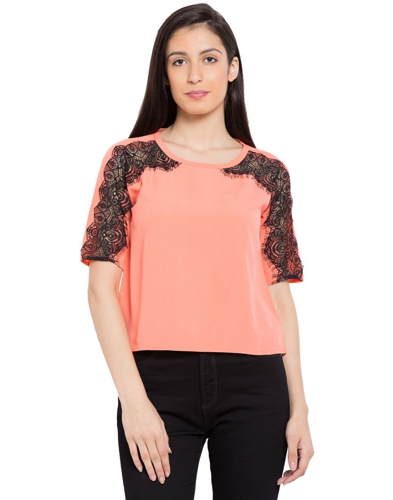 Buy Tarama Coral Color Coral Dull Crepe Fabric Solid Top For Womens (product Code - Tdt1132b) online