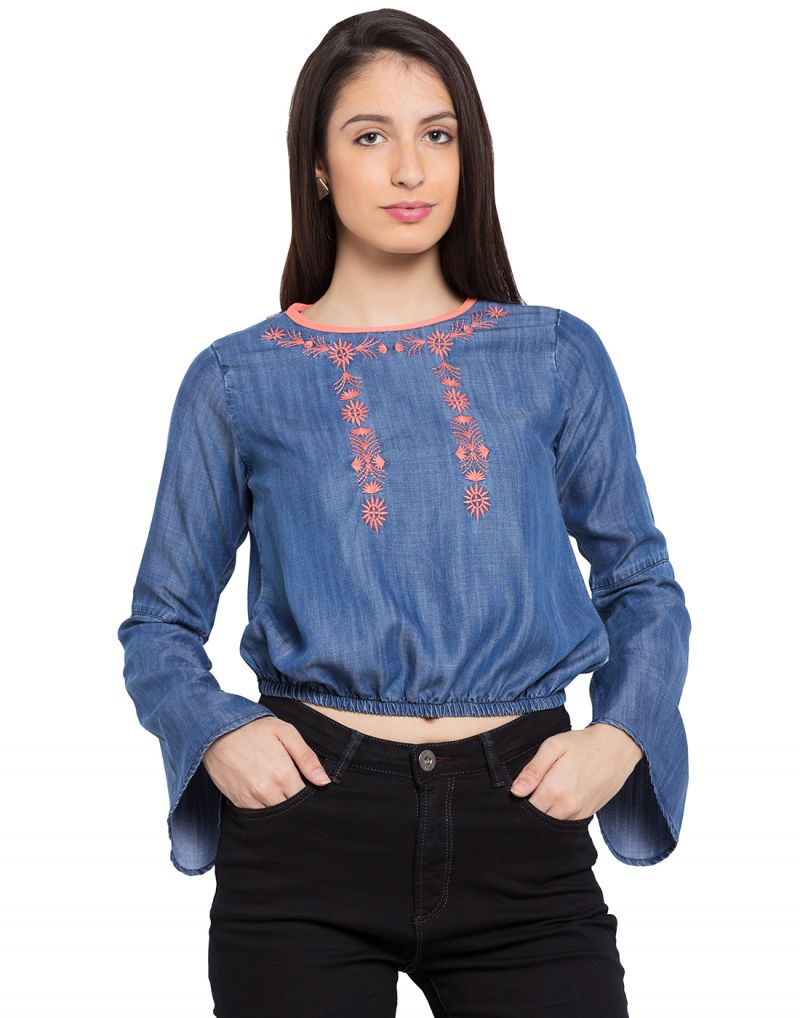 Buy Tarama Blue Color Cotton Blend Fabric Long Sleeve Women's Top online