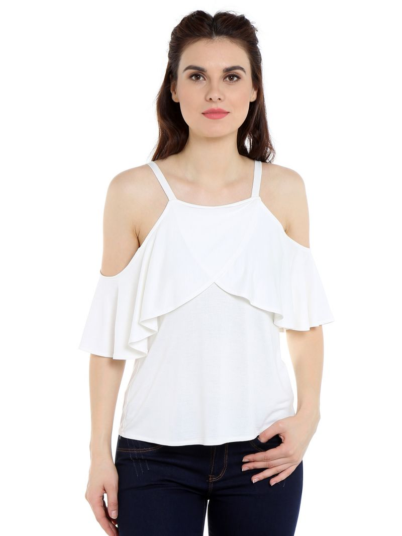 Buy TARAMA Viscose fabric Off White color Regular fit Top for women online