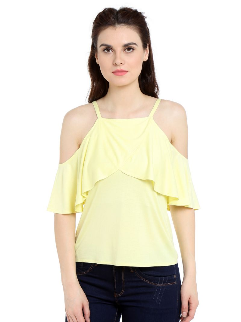 Buy TARAMA Viscose fabric Yellow color Regular fit Top for women online
