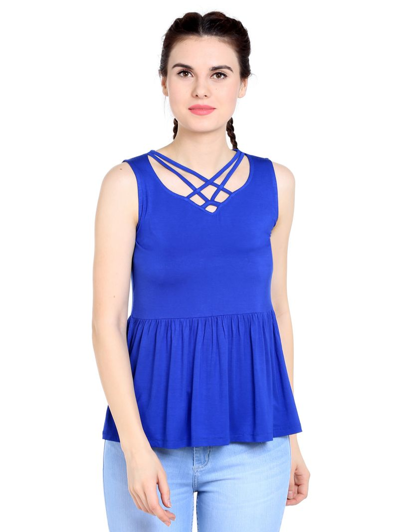 Buy Tarama Viscose Spandex Fabric Royal Blue Color Relaxed Fit Top For Women-a2 Tdt1301a online