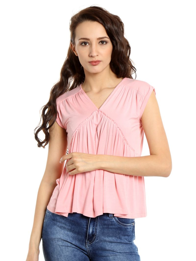 Buy TARAMA Viscose Spandex fabric Light Pink color Relaxed fit Top for women online