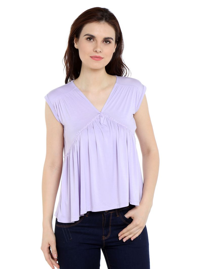 Buy TARAMA Viscose Spandex fabric Lilac color Relaxed fit Top for women online