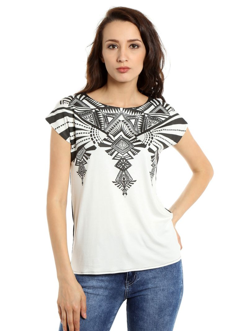 Buy TARAMA Viscose Spandex fabric Off White color Relaxed fit Top for women online
