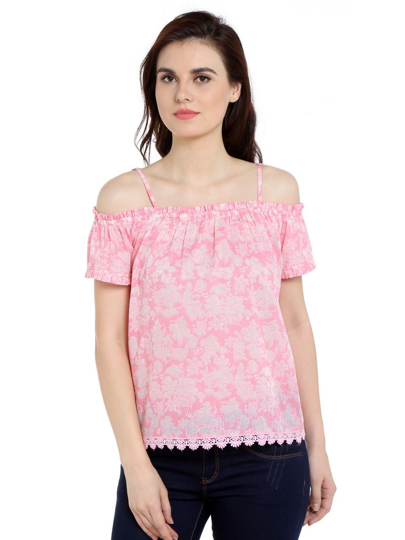 Buy TARAMA Cotton Poly Blend fabric Pink color Relaxed fit Top for women online