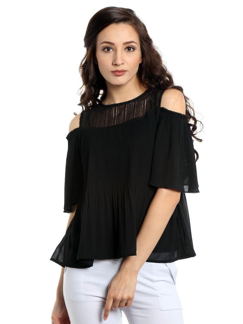 Buy Tarama Georgette Fabric Black Color Regular Fit Top For Women-a2 Tdt1313b online