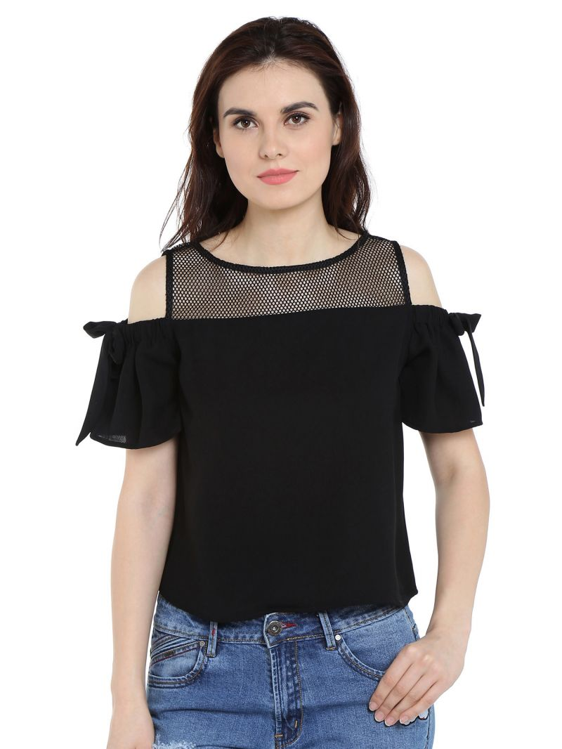 Buy TARAMA Crepe fabric Black  color Relaxed fit Top for women online