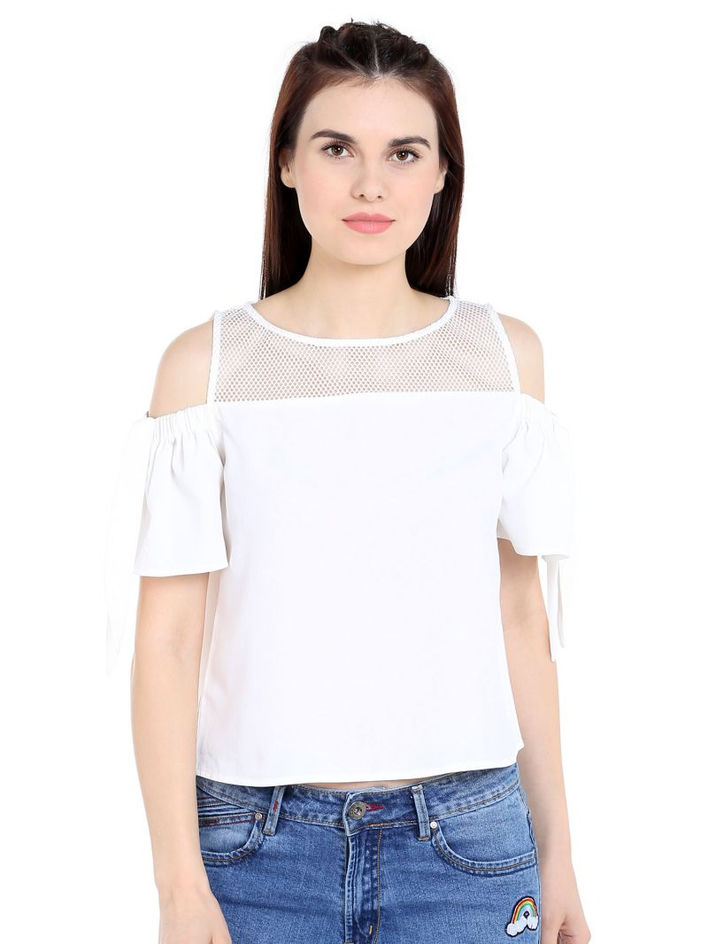 Buy TARAMA Crepe fabric Off White color Relaxed fit Top for women online