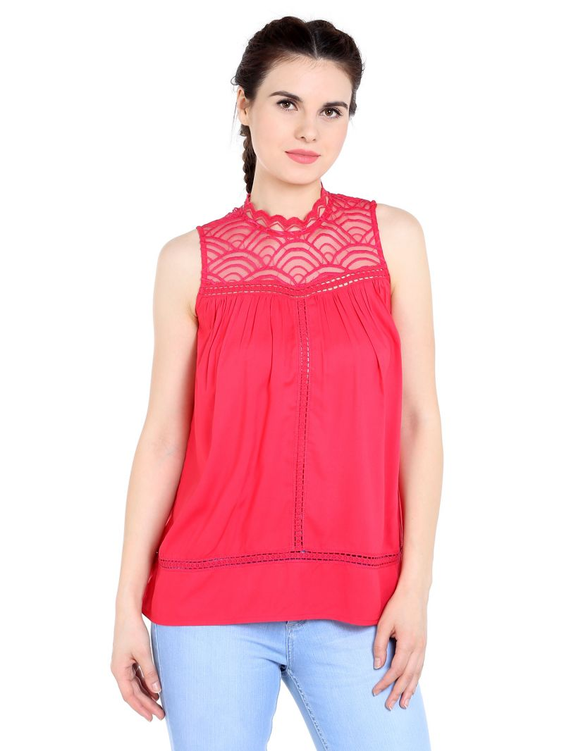 Buy TARAMA Rayon fabric Magenta color Regular fit Top for women online