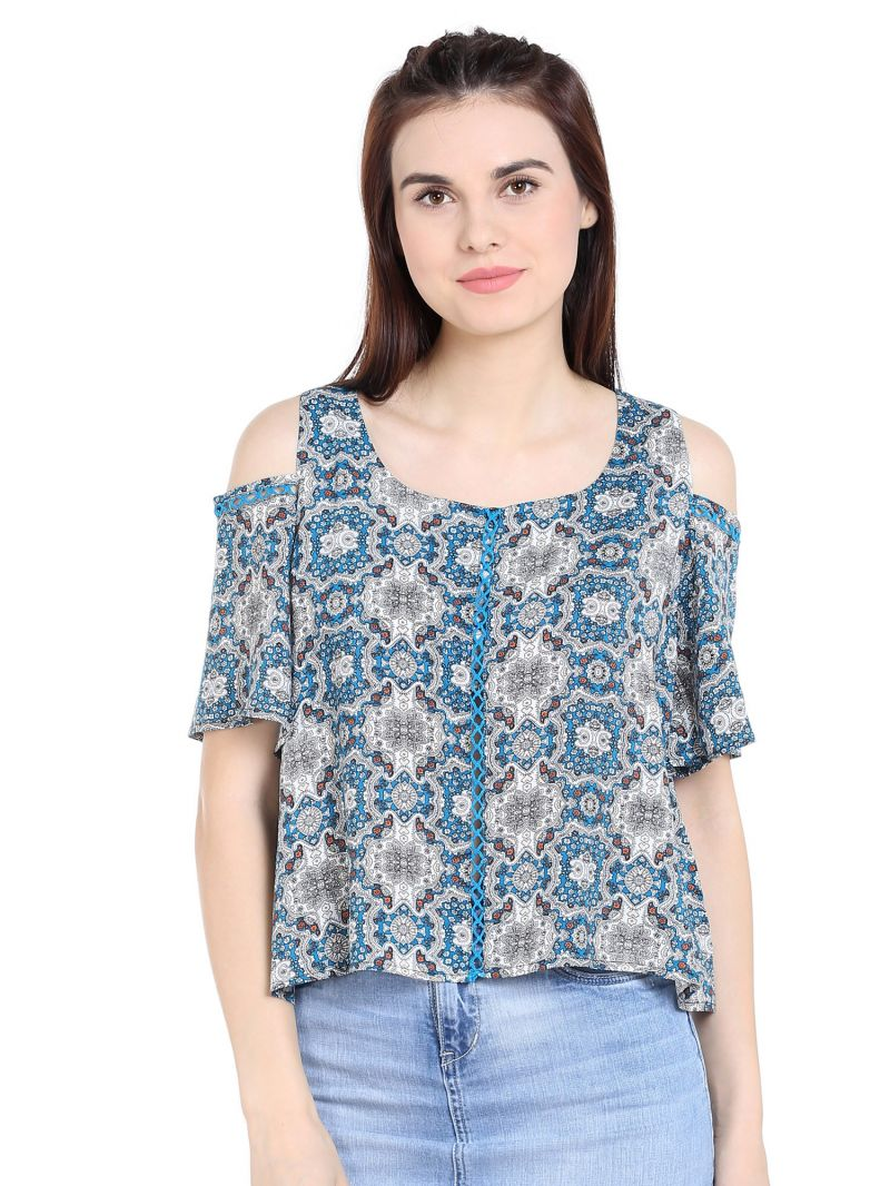 Buy Tarama Rayon Fabric Teal Color Regular Fit Top For Women-a2 Tdt1322a online
