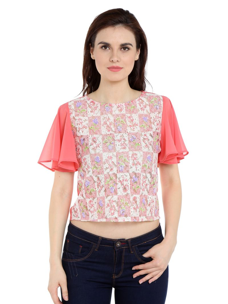 Buy Tarama Lace Fabric Pink Color Regular Fit Top For Women-a2 Tdt1359a online
