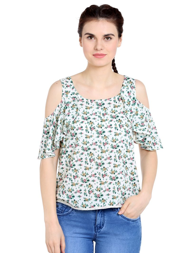 Buy Tarama Rayon Fabric White Color Regular Fit Top For Women-a2 Tdt1360b online