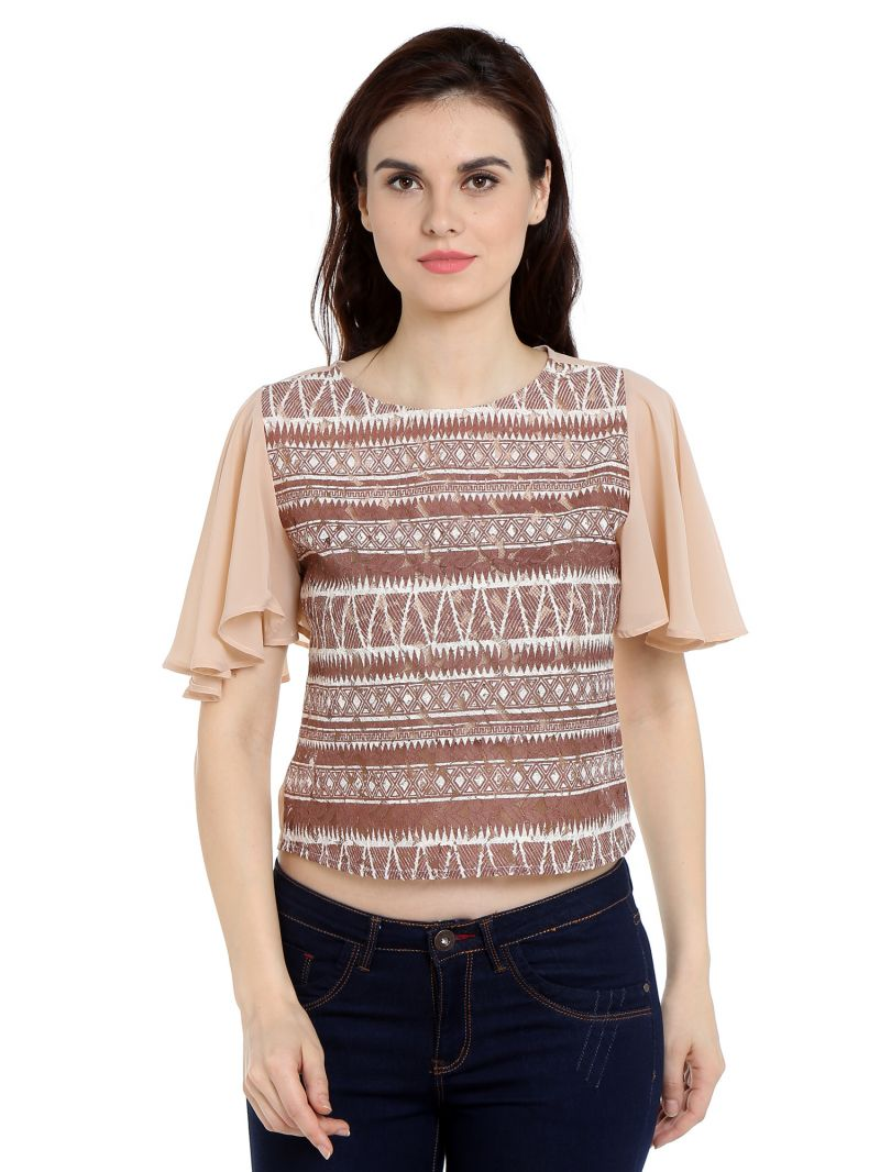 Buy TARAMA Lace fabric Nude  color Regular fit Top for women online