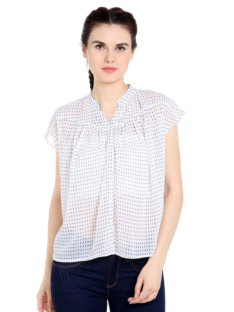 Buy Tarama Georgette Fabric Off White Color Relaxed Fit Shirt For Women-a2 Tdt1378 online