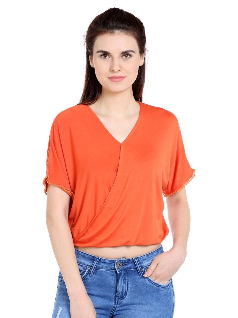 Buy TARAMA Viscose Spandex fabric Orange color Relaxed fit Top for women online