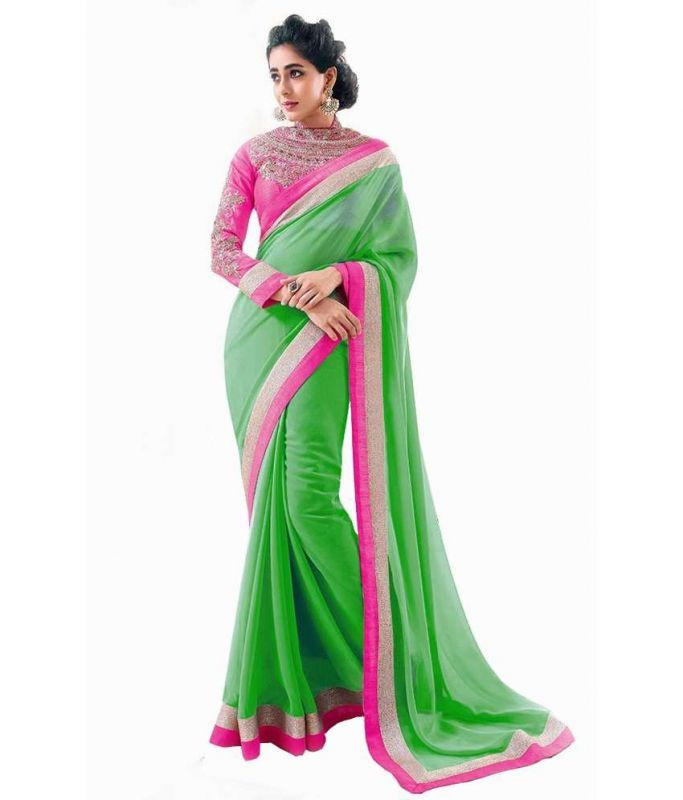 Buy Kalazone Green Faux Georgette Party Wear Saree - (product Code - S11826_s3) online