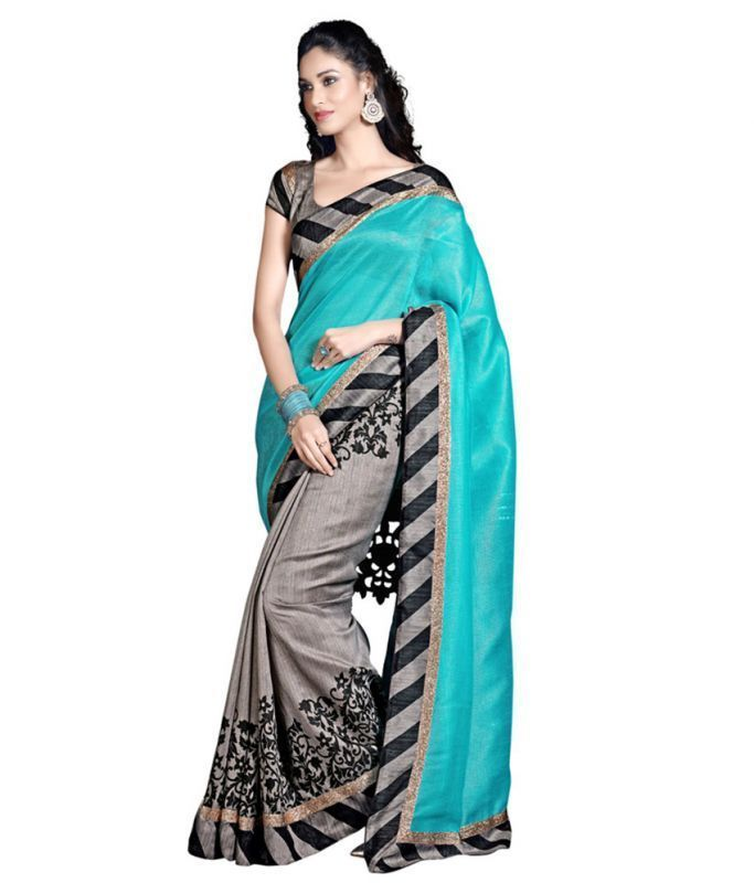 Buy Kalazone Blue Cotton Casual Wear Saree - (product Code - S11895_s6) online