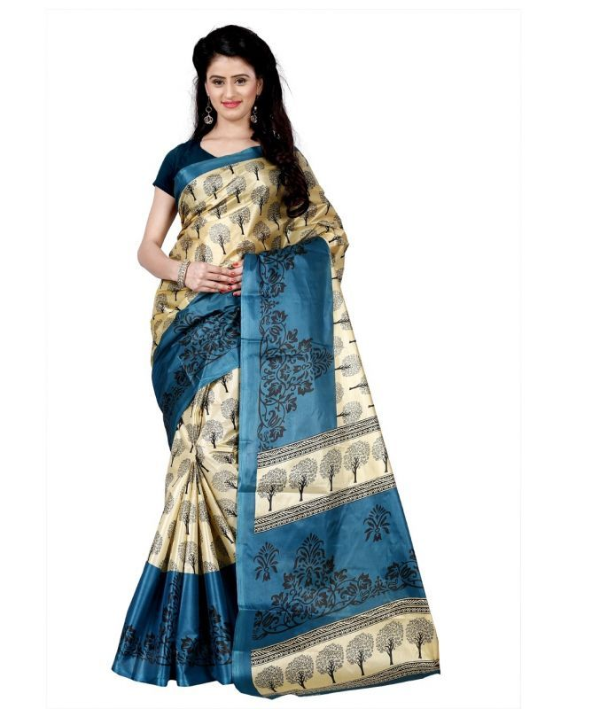 Buy Wama Fashion Printed Multicolour Raw Silk Sarees (code - Tz_1011_b) online