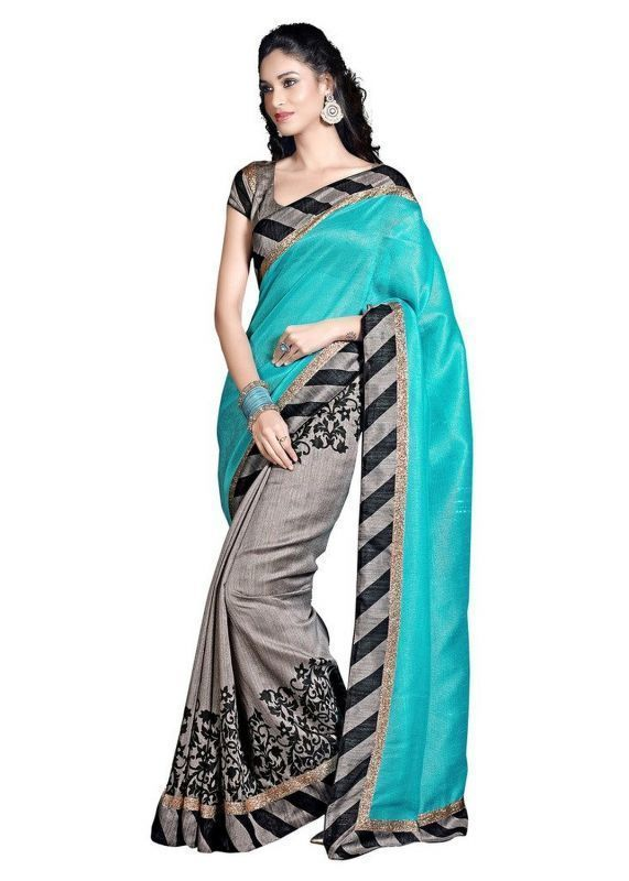 Buy Shopeezo Daily Wear Grey & Turquoise Color Bhagalpuri Silk Saree/sari online