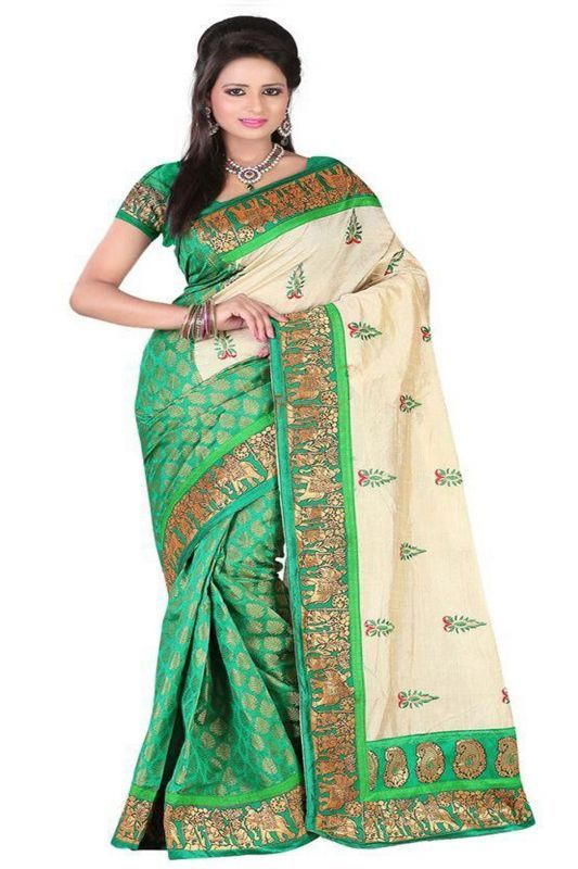Buy Chigy Whigy Green Bhagalpuri Silk Traditional Sarees With Blouse Piece online