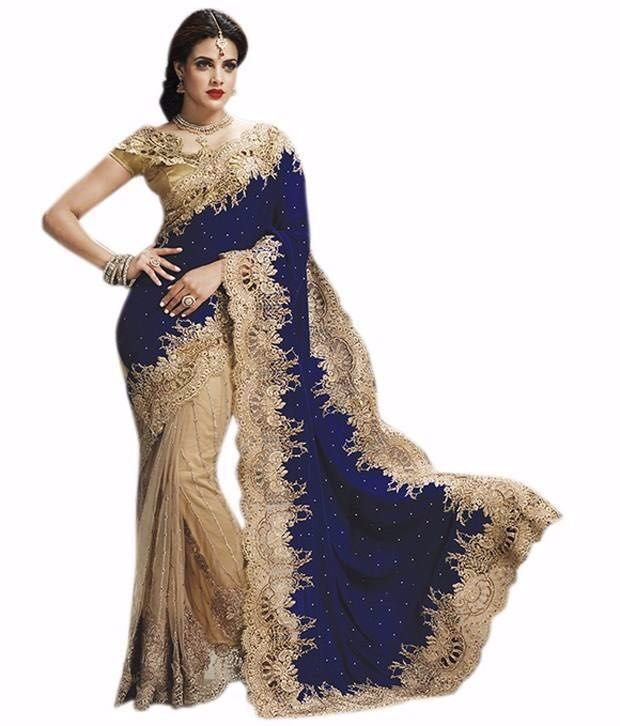 Buy Shubahm Blue Embrodary Saree online