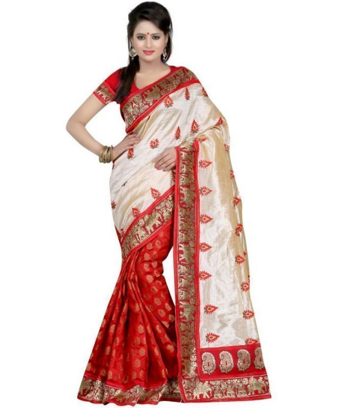 Buy Kia Fashions Red Color Silk Touch Bhagalpuri Saree online