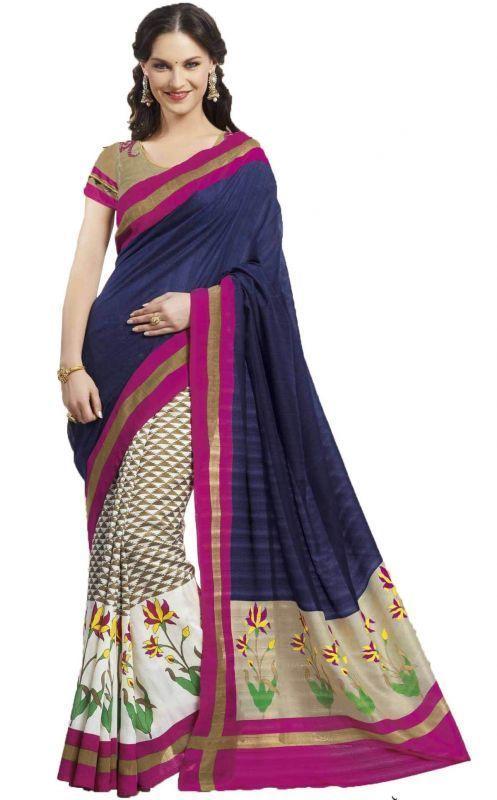 Buy Styloce Blue Bhagalpuri Saree online