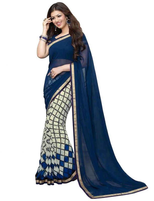 Buy Wama Fashion Georgette Navy Blue And Cream Color Printed Designer Saree online